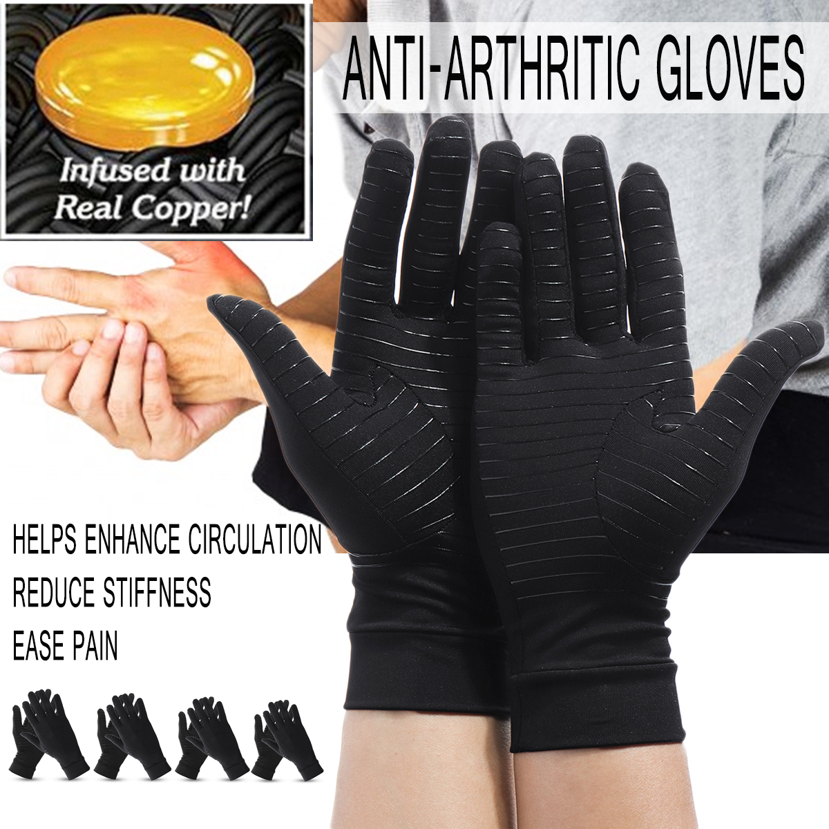 1 Pair Anti Arthritis Compression Therapy Fingerless Gloves Pain Relief