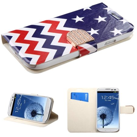 Insten Stars-wave PU Leather Flip Wallet Case With Bling Belt For Samsung Galaxy S3 i9300 ()