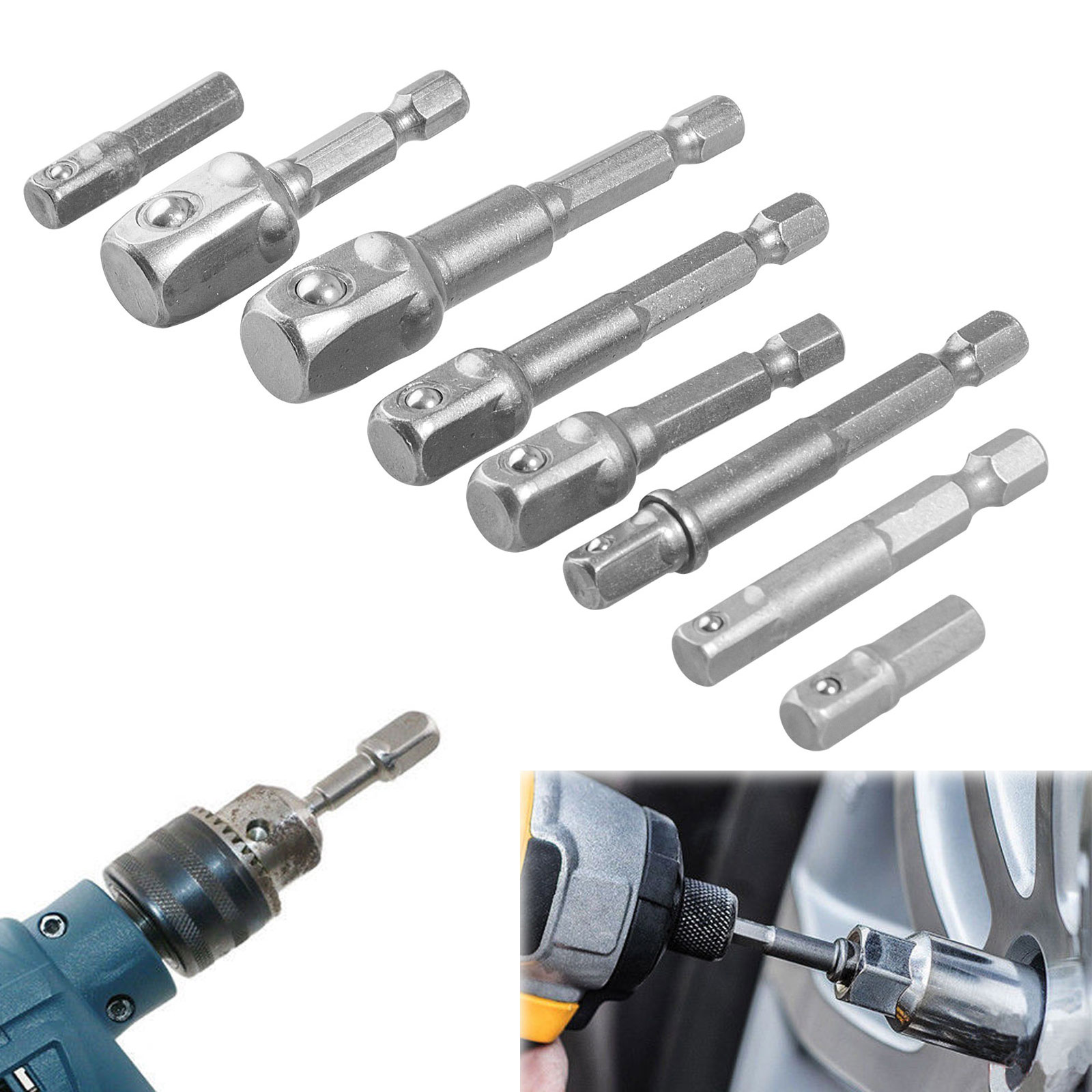 "8-pack Socket Adapter Set Hex Shank to 1/4"" 3/8"" 1/2"" Impact Driver Drill Power Extension Bits Bar"