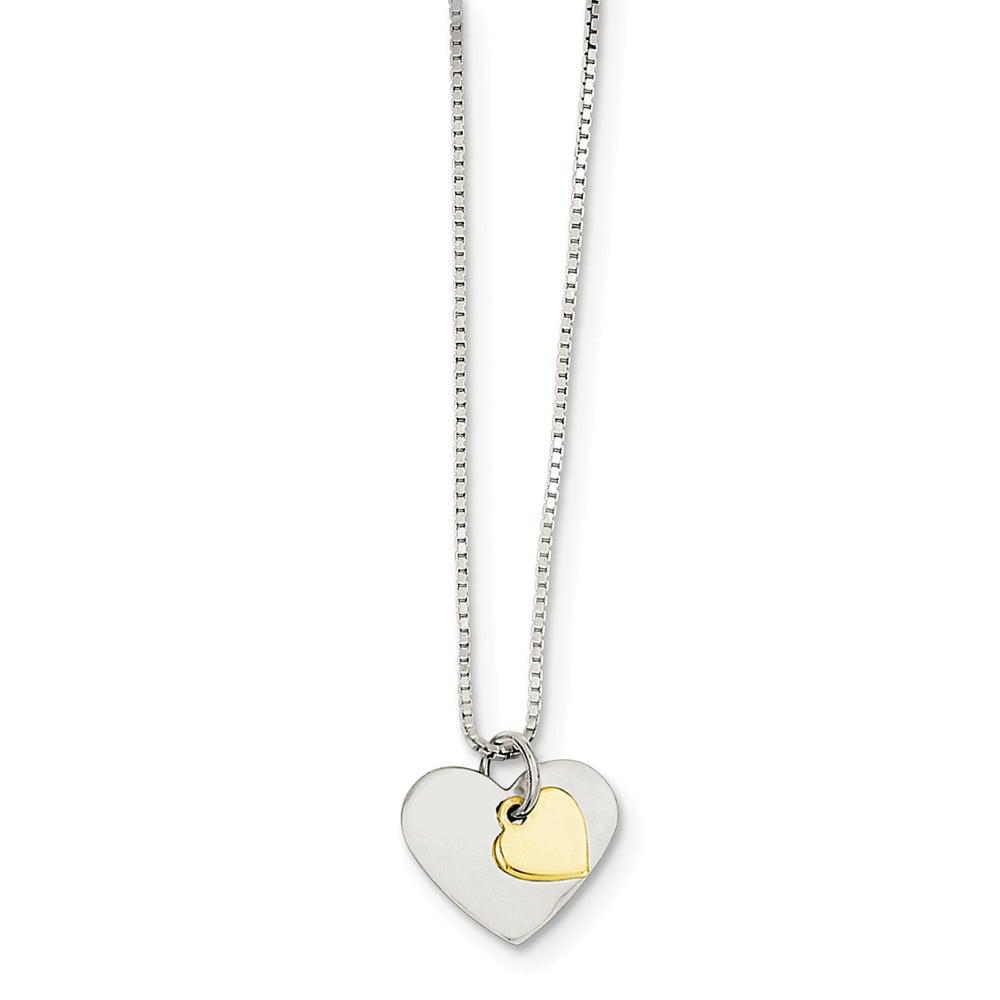 Sterling Silver 18in Vermeil Polished Fancy Heart Necklace