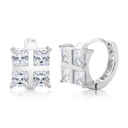 Cubic Zirconia Hoop Huggie Earrings - Silver Plated Plated Base Metal with Square Princess Cut CZ Stones - By Kezef -