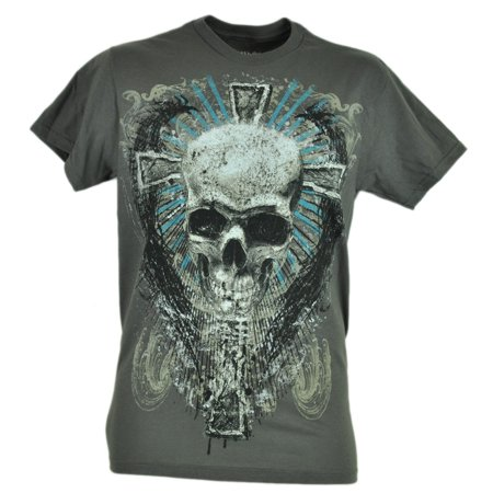 Fifth Sun Skull Cross Skeleton Graphic Gray Tshirt Novelty Brand Tee Shirt Small (Novelties Store)