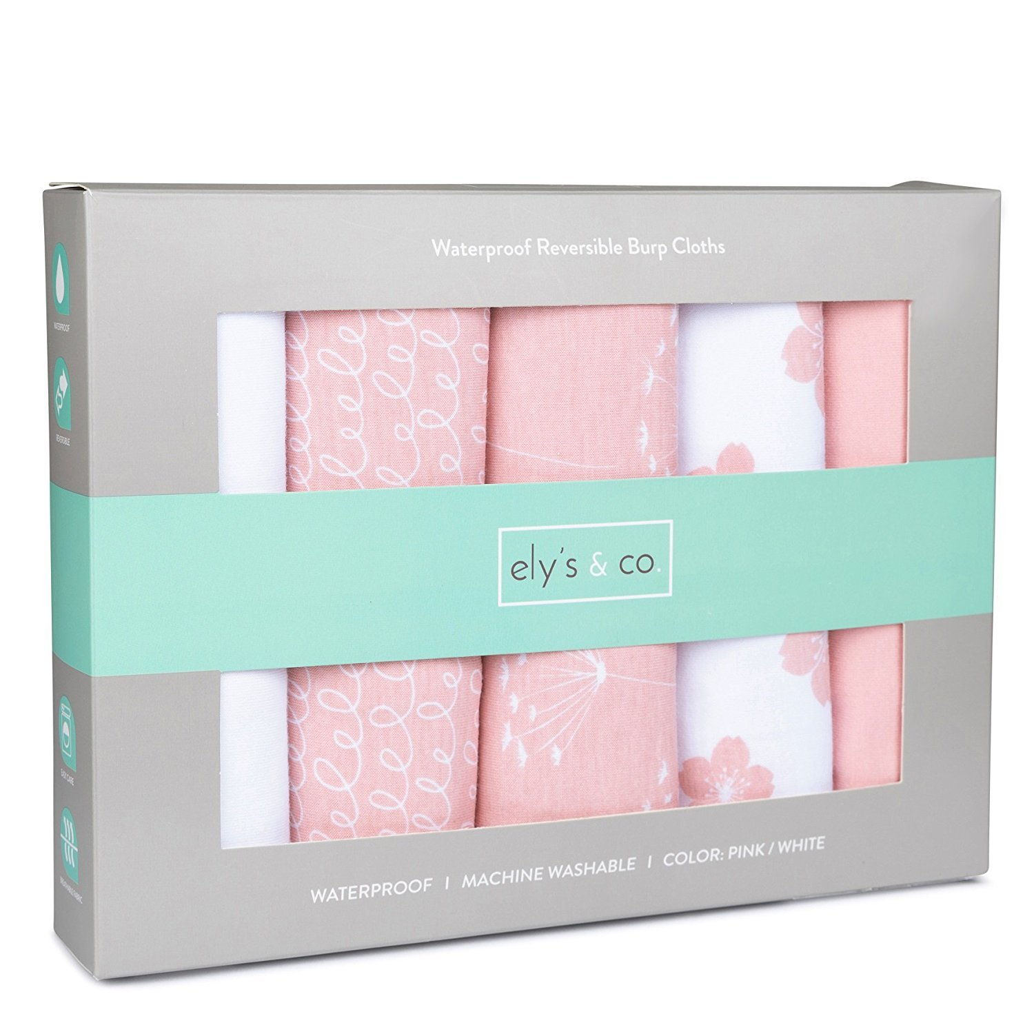 """Baby Burp Cloth,Waterproof Reversible Jersey Cotton Large Burp Cloths, Cloth Diapers 20"""" x 12"""" 5 Pack Pink Combo for Baby Girl by Ely's & Co"""