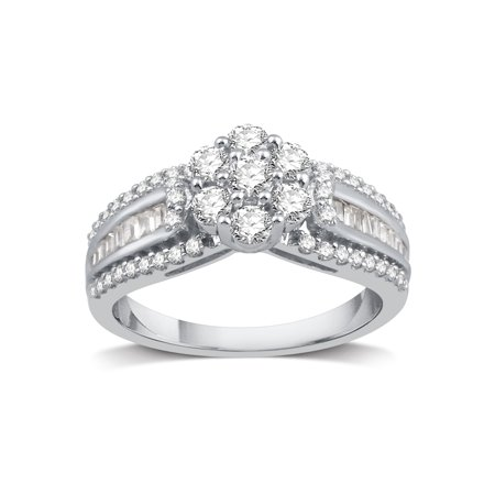 - Amoureux Sterling Silver 1ct TDW Diamond Cluster Engagement Ring - White I-J