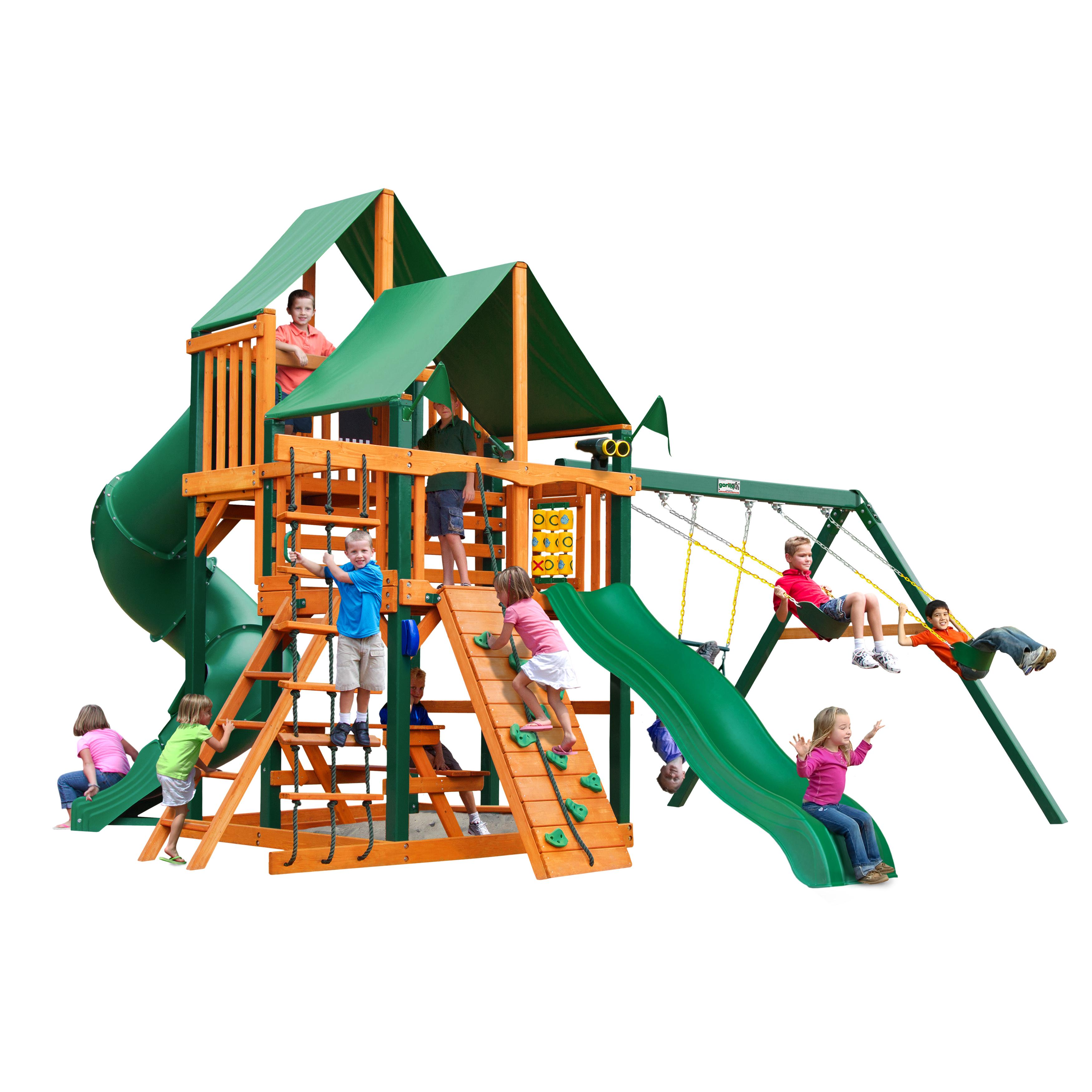 Gorilla Playsets Great Skye I with Green Vinyl Canopy and Timber Shield Posts