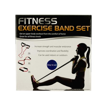 Bulk Buys OL397-3 Fitness Exercise Band Set with Storage Bag, 3 Piece