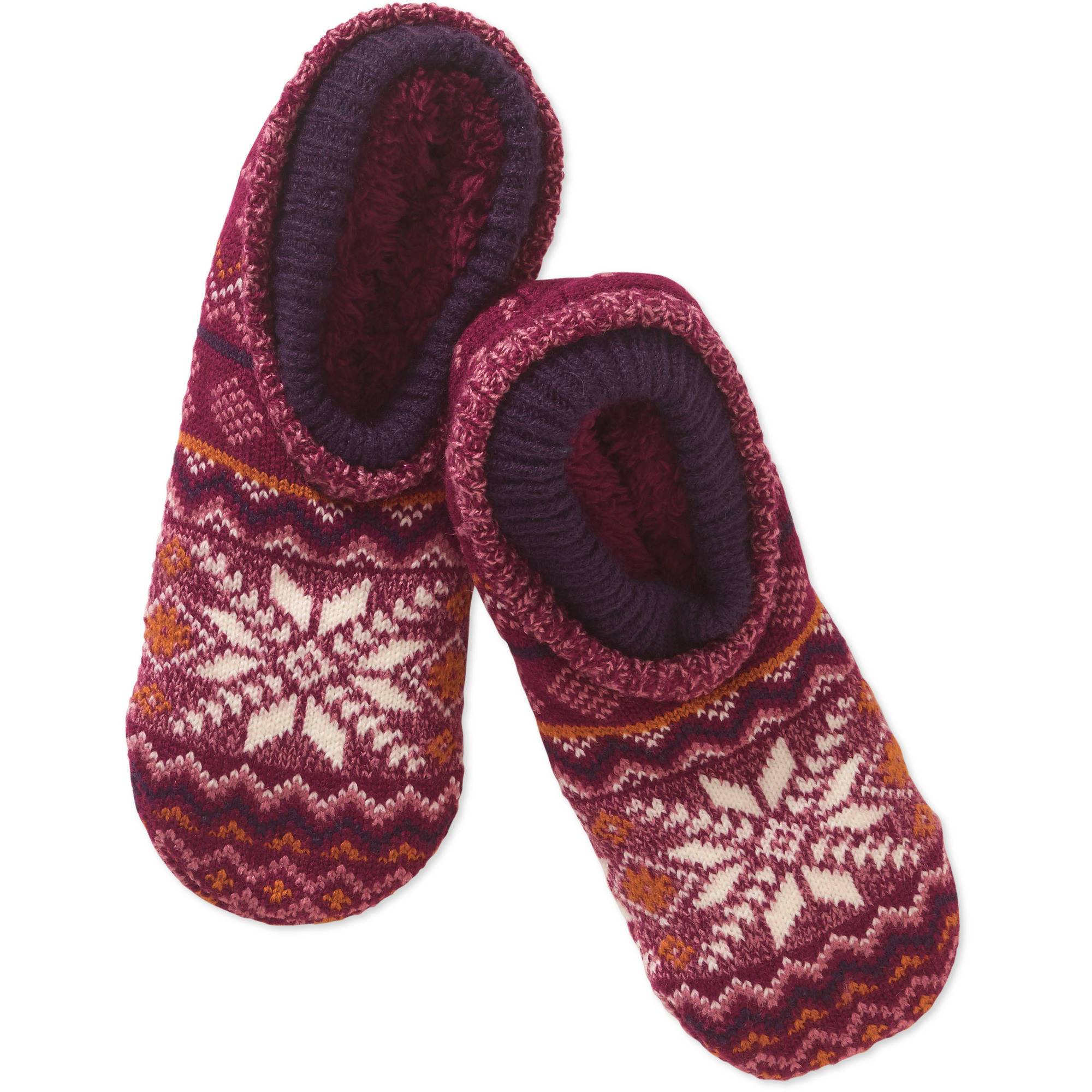 Snowflake Pattern Double Cuff Warmer Slipper Socks with Fur Lining