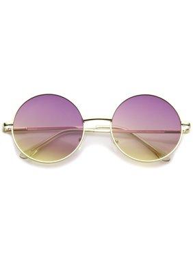 3c773ee9b5 Product Image sunglassLA - Bohemian Full Metal Frame Gradient Flat Lens  Oversize Round Sunglasses - 54mm