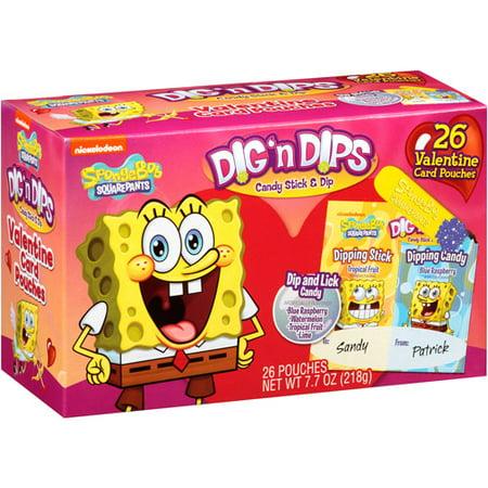 spongebob squarepants dig n dips valentine card pouches 26 count - Spongebob Valentine Cards