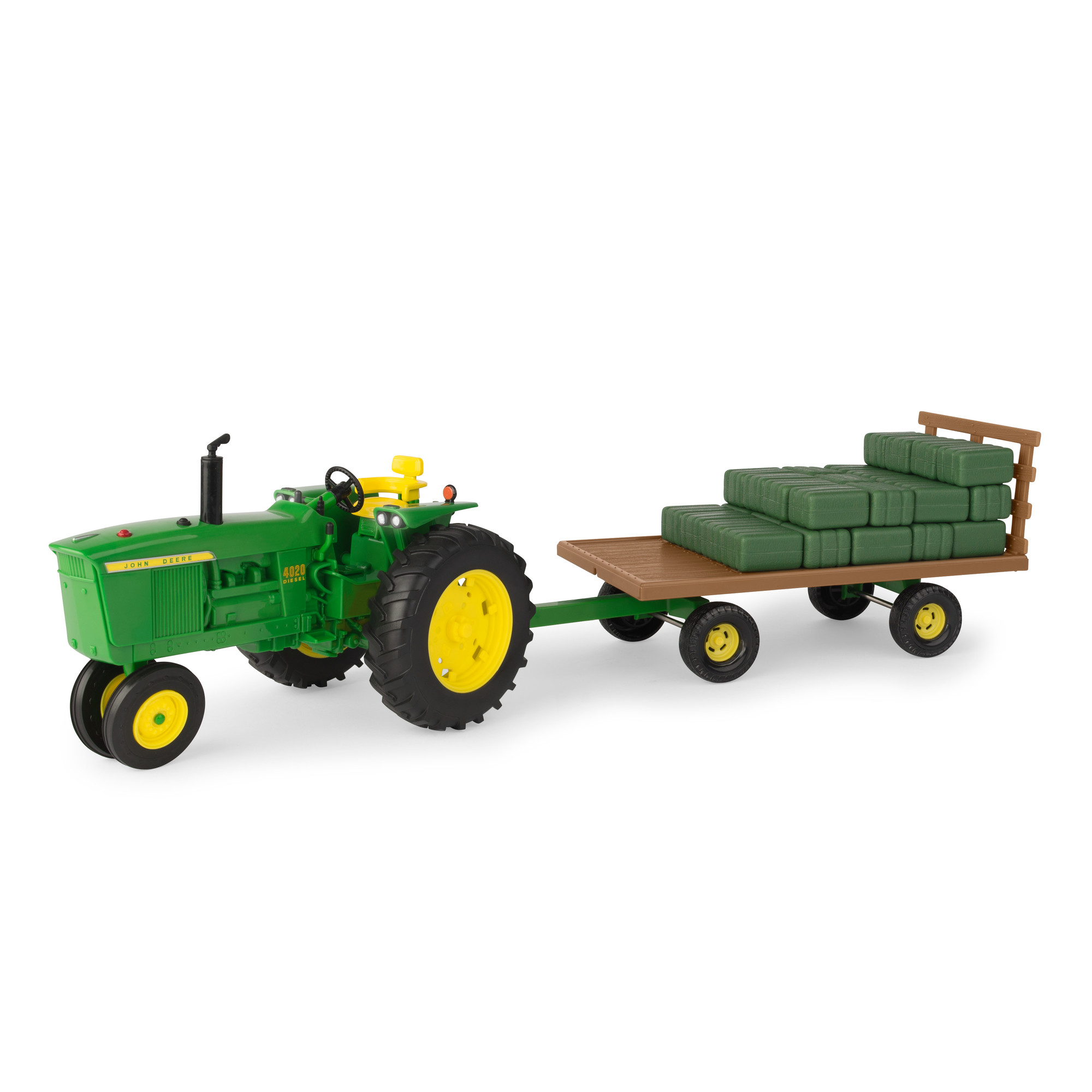 Big Farm 1:16 John Deere 4020 Tractor with Hay Wagon & Bales by TOMY