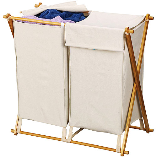 Household Essentials Double-X Frame Folding Hamper with Natural Bag