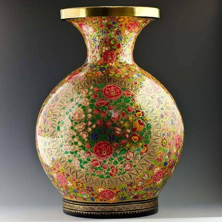 Oriental Flowers Hand Painted Wooden Vase 12 Inches - Oriental Vases
