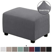 H.VERSAILTEX Jacquard Textured 1-Piece Ottoman Slipcover with Foam Inserts (Ottoman, Charcoal Gray)