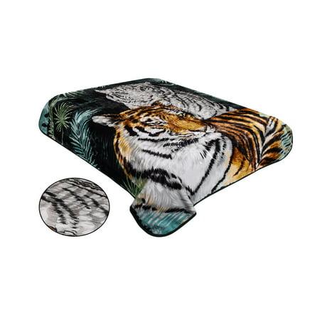 Jumbo Comforter - Osake Clearance Super Soft Luxury Blanket / Comforter Beautiful Design, 1 ply , Clearance Embossing Jumbo Size Super Soft Luxury Blanket / Comforter Beautiful Design, 2 tiger. TEBJ-31 DARK GREEN