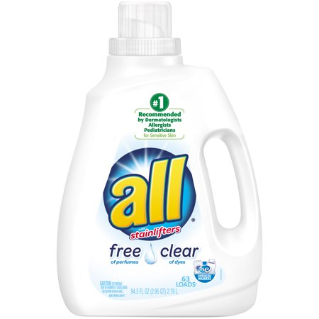 All With Stainlifters Free Clear Liquid Laundry Detergent  63 Loads  94 5 Fl Oz