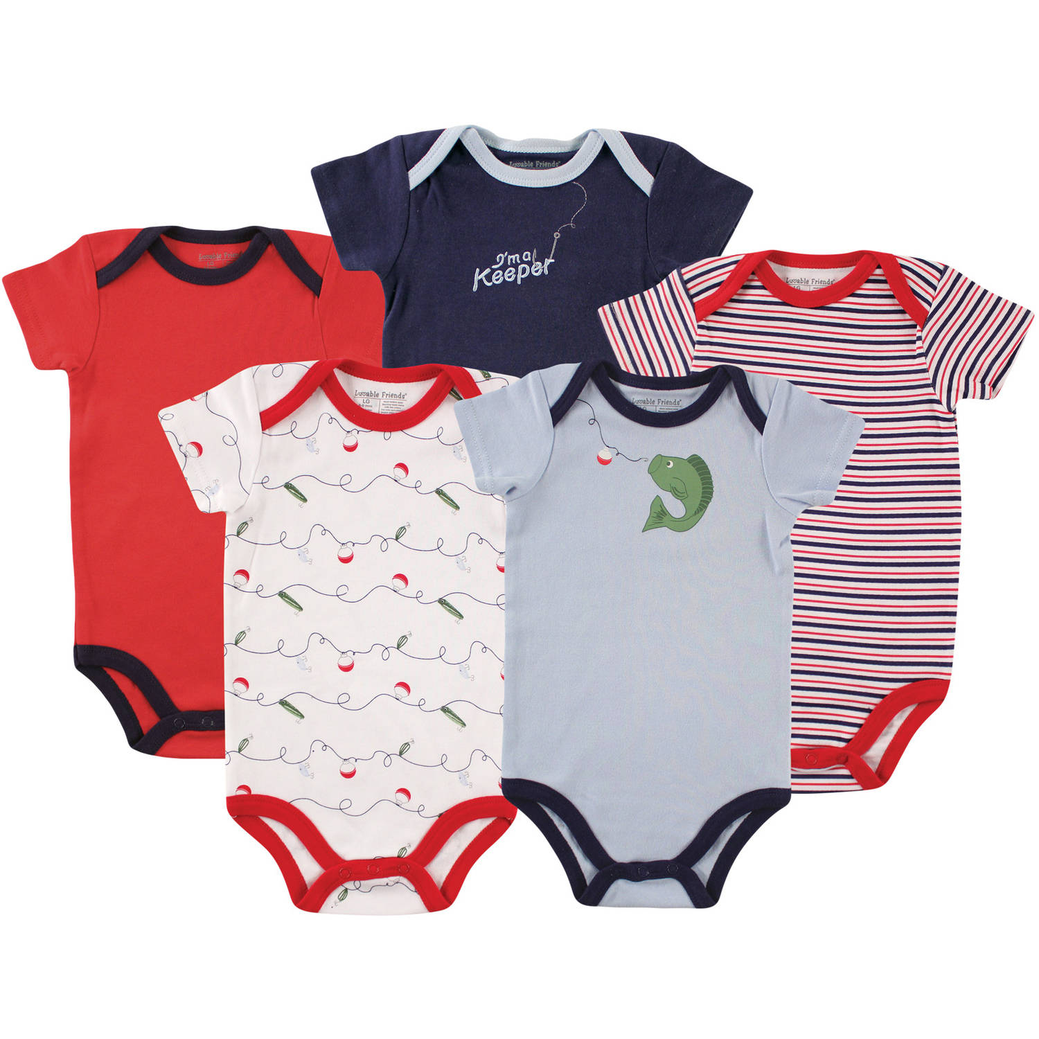 Luvable Friends Newborn Baby Boys Bodysuit 5-Pack Fish