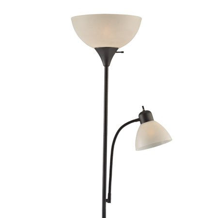 Decor Works Floor Lamp with Side Reading Light (Black)