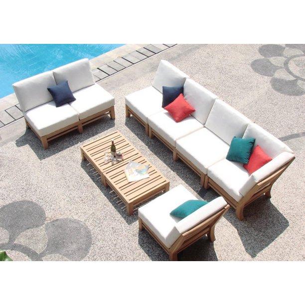 7 Piece Teak Sectional Sofa Set, Teak Sectional Patio Furniture