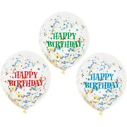 12 Assorted Happy Birthday Confetti Balloons