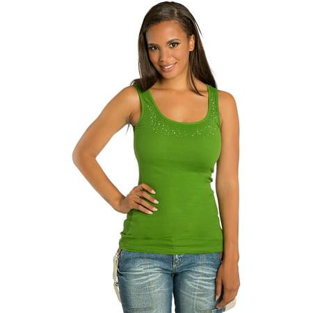 Sweet Vibes Womens Tank Tops Olive Cotton Stretch Rib Jeweled Neckline Juniors