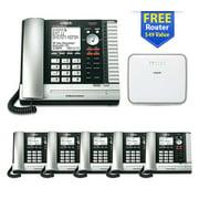 VTech UP416 4Line Phone + (5) UP406 Deskset +?VNT814 (Free) Ethernet Router