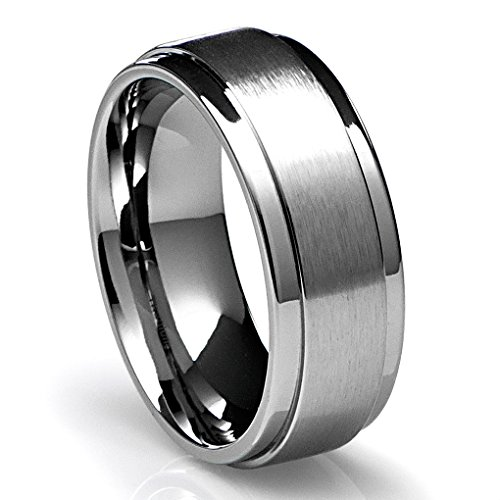 High Quality Mens Wedding Ring Titanium 8MM Band With Flat Brushed Top And Polished  Finish Edges