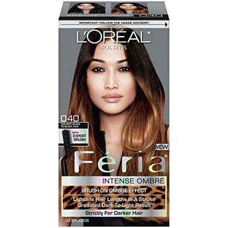 Feria Brush-On Intense Ombre Effect Hair Color, 040 For Soft Black to Black Hair, Intense ombre effect even on dark bases By L'Oreal (Best Color To Ombre Black Hair)