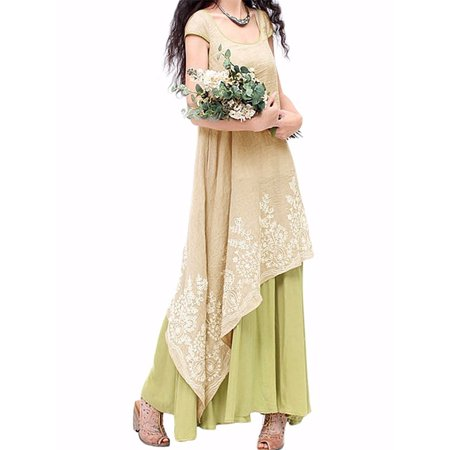 Dresses for Women Cap Sleeve Embroidery Double Layers Long Dress