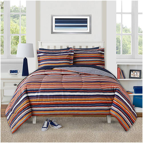 Better Homes and Gardens Kids Orange & Navy Stripes Comforter Set