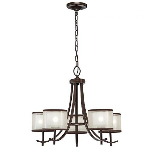 Hampton Bay 5-Light Bronze Ceiling Chandelier with Organza Shade by