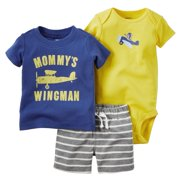 Carters Baby Clothing Outfit Boys 3-Piece Bodysuit & Shorts Set Mommy's Wingman