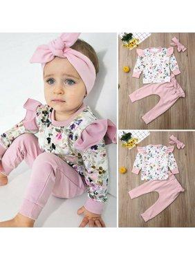 Neu Kinder Baby Mädchen Kleidung Langarm Blume Tops+Pants 3 STÜCKE Outfit Herbst