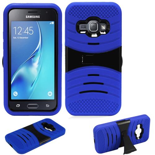 Phone Case for Samsung Galaxy J1 Luna / Galaxy Express 3 ( AT&T) / Cricket Wireless Galaxy Amp 2 4g LTE Rugged Heavy Duty Armo Cover Blue-Black Stand