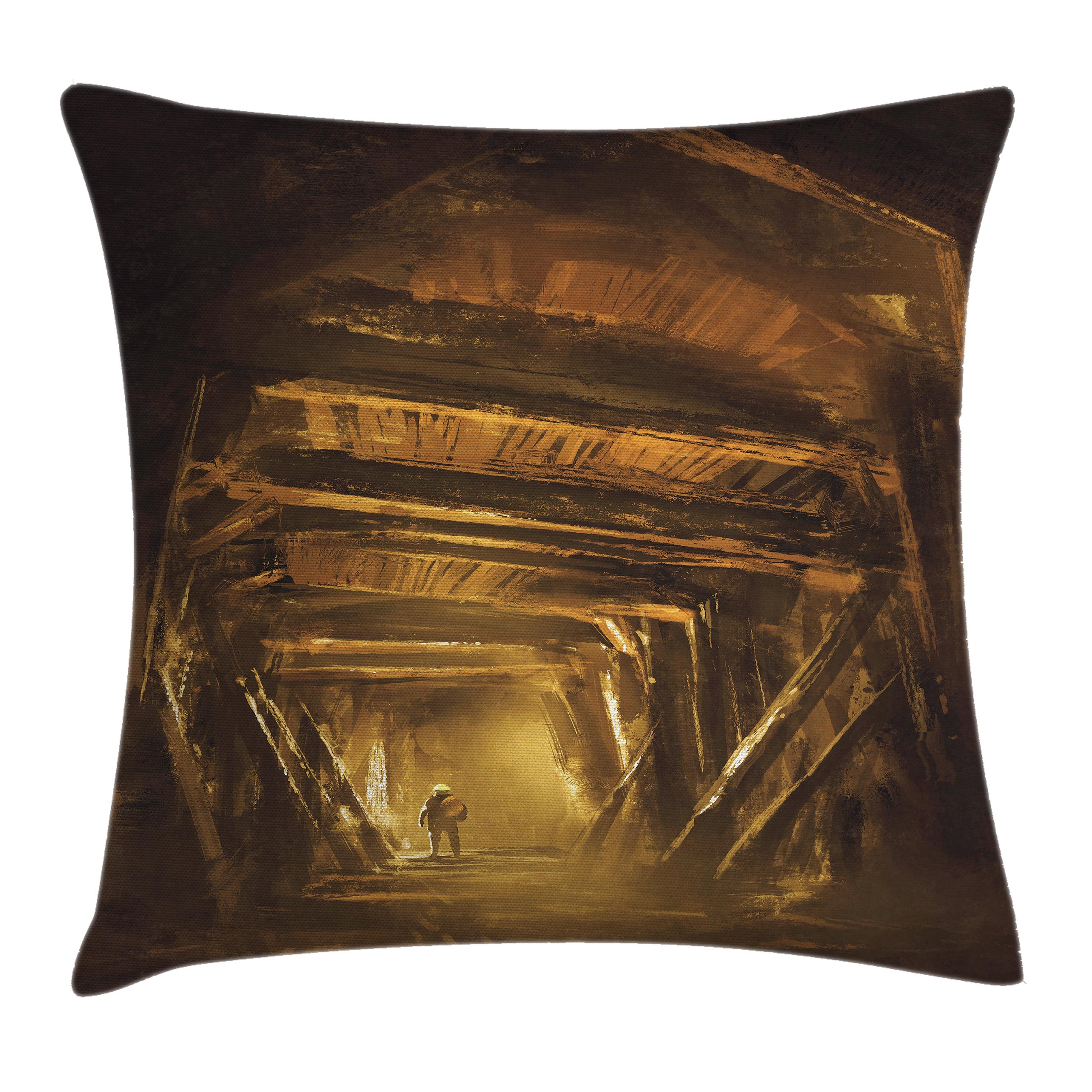 Cartoon Decor Throw Pillow Cushion Cover, Art Painting of Abandoned Mine with Explorer Mystic Adventure Print, Decorative Square Accent Pillow Case, 18 X 18 Inches, Golden and Brown, by Ambesonne