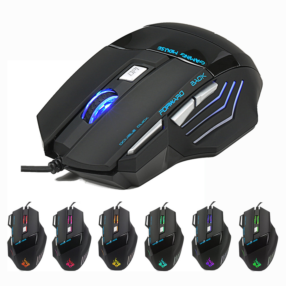 New Fashion 5500 DPI 7 Button LED Optical USB Wired Gaming Mouse Mice For Pro Gamer Cool