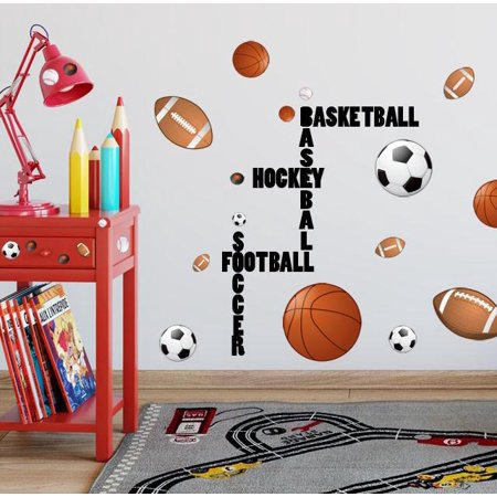 All Sports Wall Decals (28) Boys Wall Stickers, Soccer Baseball Football Hockey Football Vinyl Decor - Baseball Stickers