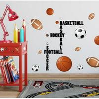 All Sports Wall Decals (28) Boys Wall Stickers, Soccer Baseball Football Hockey Football Vinyl Decor