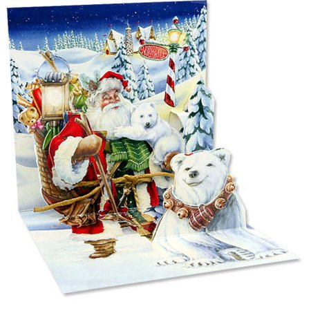 Up With Paper Santa & Polar Bears Pop-Up Christmas Card - Easy Halloween Pop Up Cards
