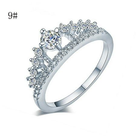 New Fashion Gold Pretty Crown Lady Crystal Ring Princess Ring - Cheap Pretty Rings