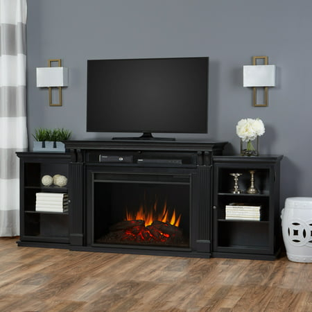 Tracey Grand Entertainment Center Electric Fireplace in Black by Real (Real Flame 72 Tv Stand With Electric Fireplace)