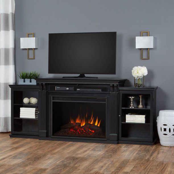 Tracey Grand Entertainment Center Electric Fireplace in Black by Real Flame