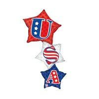 Betallic Burton and Burton Patriotic Star Stacker Foil Balloon Party Supplies and Decorations