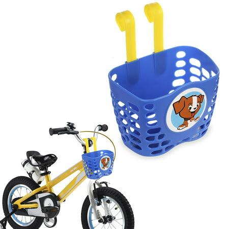 - Kid's Bike Basket, MINI-FACTORY Cute Puppy Pattern Bicycle Handlebar Basket for Boys - Blue Puppy