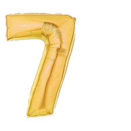 40-Inch Giant Gold Foil Balloons, Shiny Mylar, Number 7, Metallic - Metallic Mylar