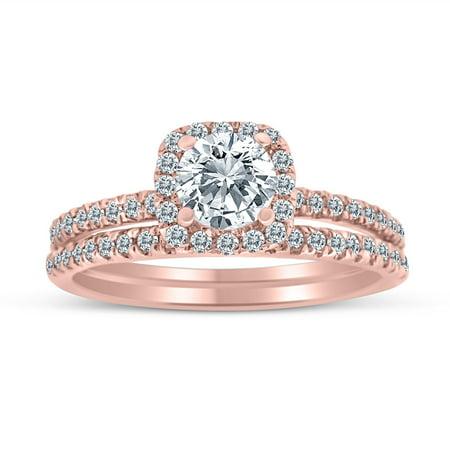 - 1.00ctw Diamond Halo Bridal Set Engagement Ring in 10k  Rose Gold