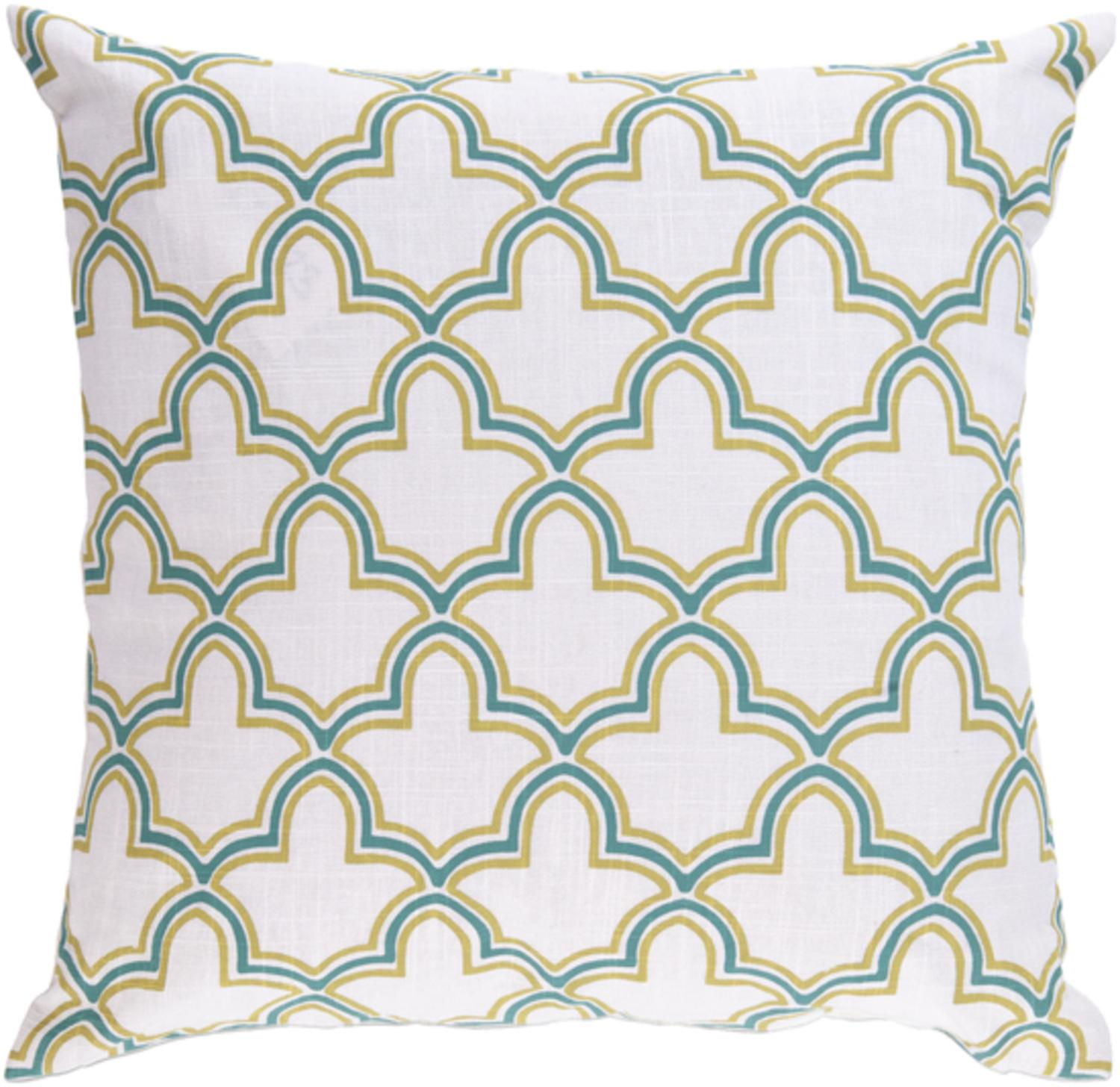 """18"""" Egyptian Magic Lily White, Turquoise and Lime Decorative Throw Pillow"""
