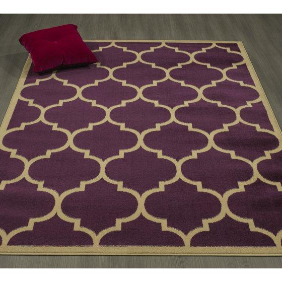 Ottomanson Paterson Collection Contemporary Moroccan Trellis Design Lattice Area Rug 5 3 X 7 0 Dark Red