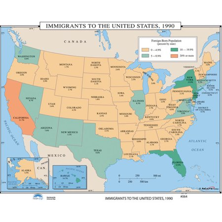 Universal Map U.S. History Wall Maps - Immigrants to the U.S. 1990 ...