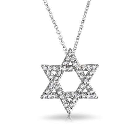 Diamond Pave Star Pendant - Hanukkah Pave Cubic Zirconia CZ Magen Intertwined Jewish Star Of David Pendant Necklace For Women 925 Sterling Silver
