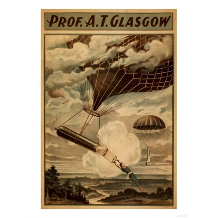 Glasgow Hot Air Balloon Circus Theatre Poster Art Print  By Lantern Press